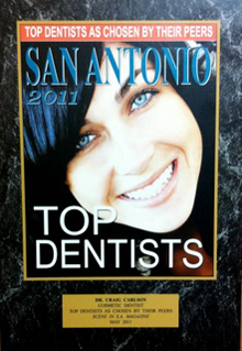 2011 Top Dentists San Antonio plaque - Top Dentists as Chosen by Their Peers
