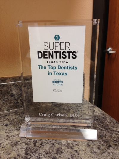 Award for Craig Carlson, DDS - Top Dentists in Texas 2014 - Super Dentists