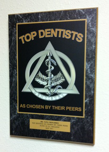 Plaque reading 'Top Dentists As Chosen By Their Peers'