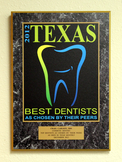 Plaque for Craig Carlson, DDS - Best Dentists Chosen by Their Peers, 2012