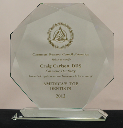America's Top Dentists 2012 award for Craig Carlson, DDS from Consumers' Research Council of America