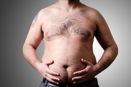 shirtless man with large gut
