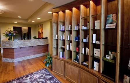 shelf with high-quality skin care products in the lobby of Allure Medi-Spa