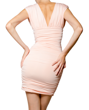 backside of a woman in a pink dress