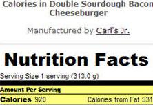 nutrition facts on hamburger