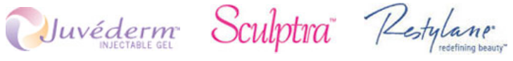 logos for Juvederm, Sculptra and Restylane