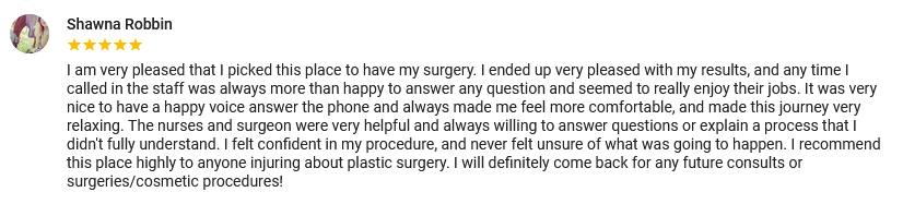 A great review for Blair Plastic Surgery in Altoona and State College, PA