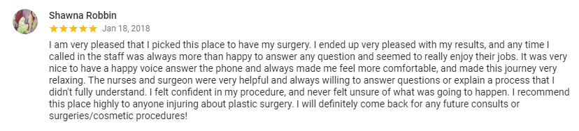 positive patient review for abdominoplasty results at Blair Plastic Surgery
