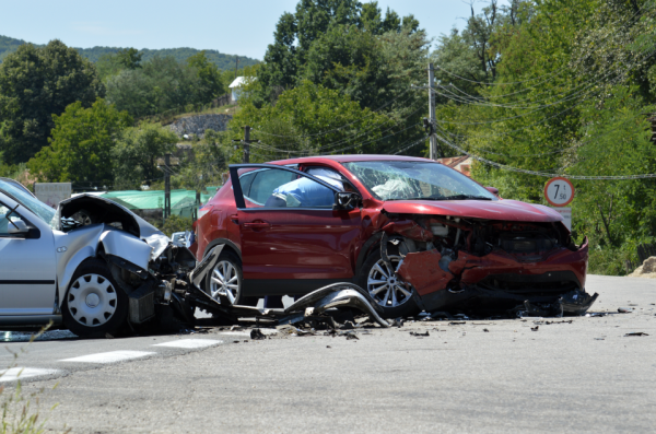 2 vehicles involved in a car accident