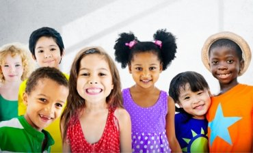Diverse group of children smiling
