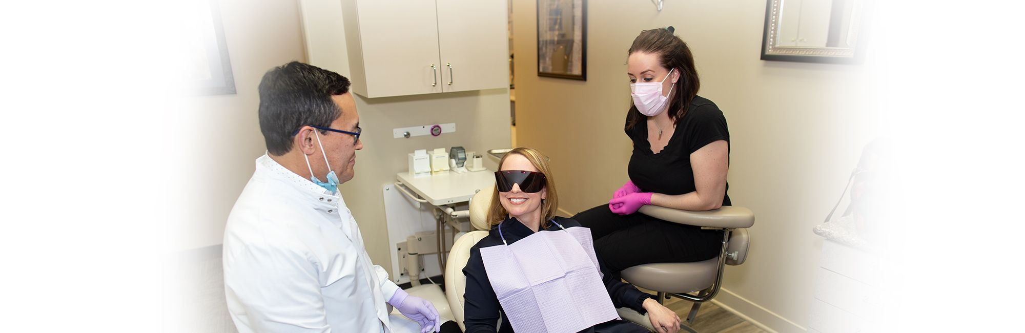 A happy client at the office of Contemporary Dental Health