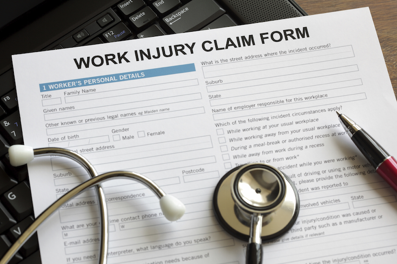 Workers' compensation benefits claim form for a workplace injury
