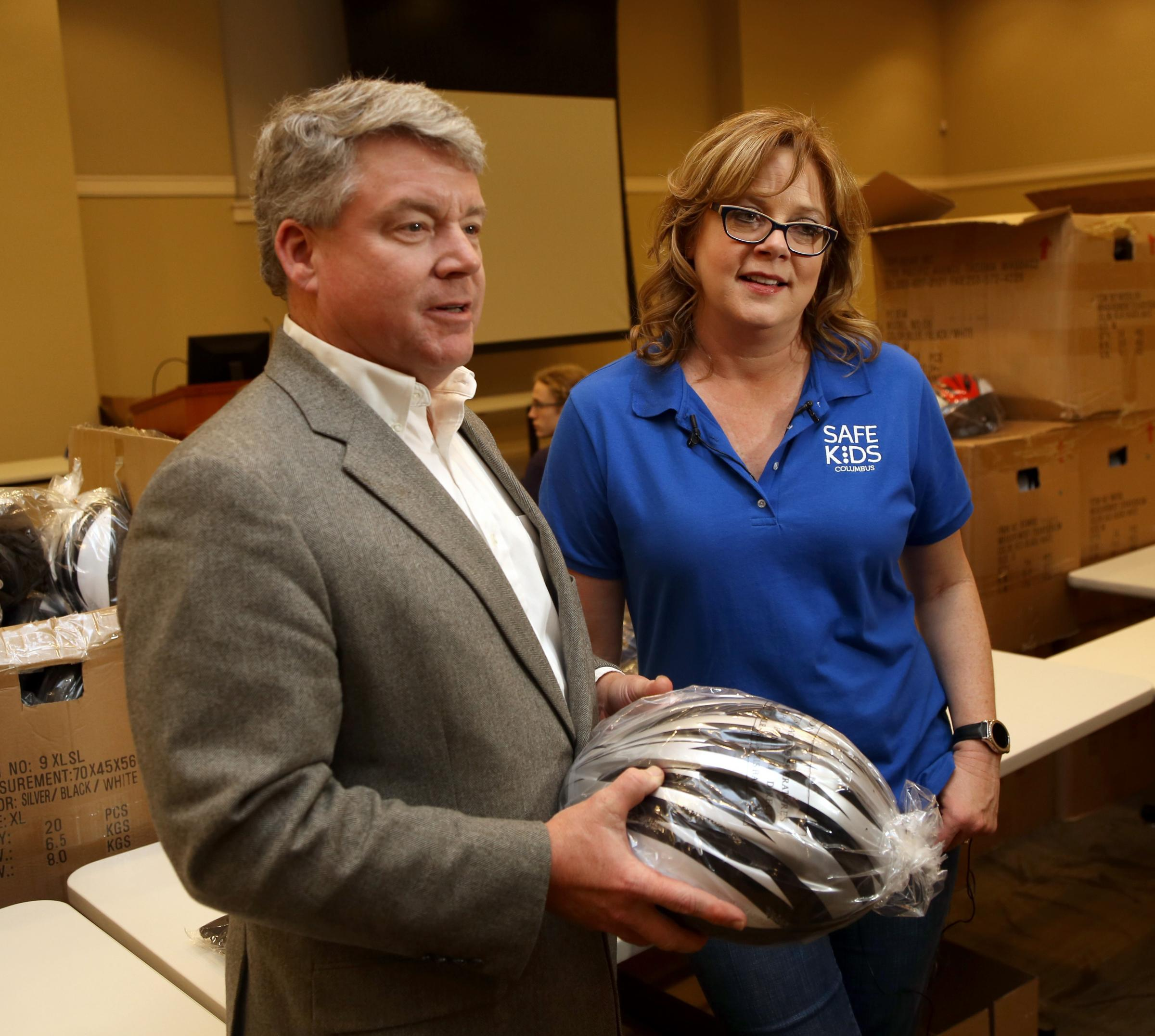 Gary Bruce at Safe Kids Columbus' Annual Helmet Giveaway