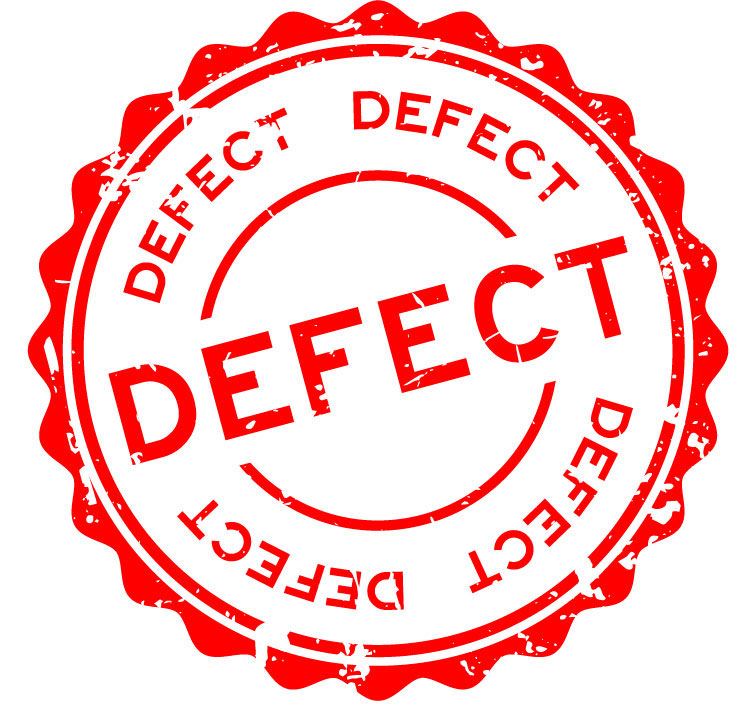 "Red circular sign reading ""Defect"" to warn of a defective product"