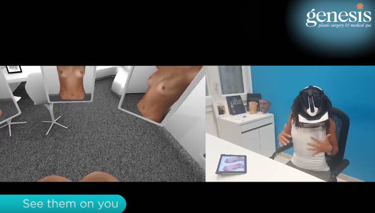 side-by-side comparison of 3D images in Crisalix, woman wearing VR goggles in office
