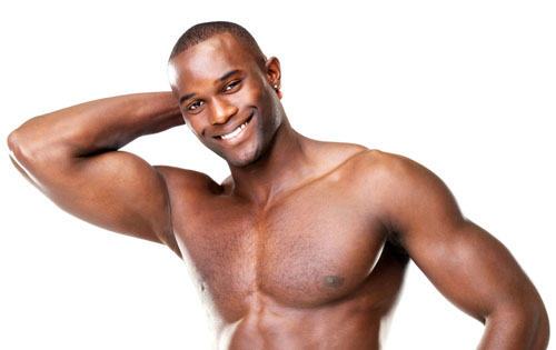 African American man flexing right arm