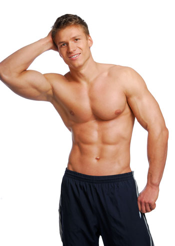 muscular man flexing right arm and torso