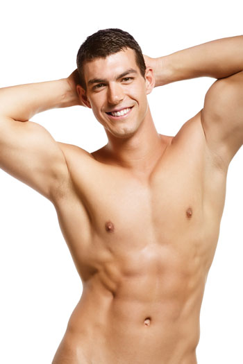man nude from the waist up putting hands behind head