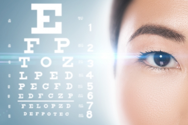 woman's eye near a vision chart - Chicago LASIK surgeon