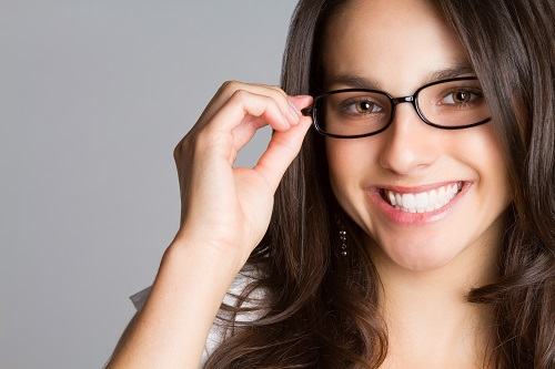 young woman with stylish eyeglasses
