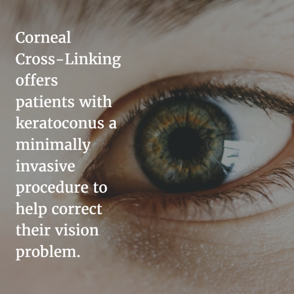 graphic explaining benefits of corneal cross-linking for keratoconus