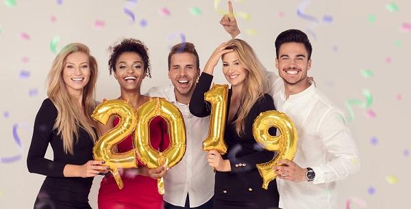 Group celebrating 2019 New Year