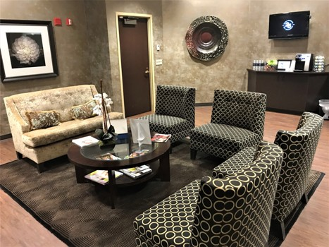 waiting room of our plastic surgery facility at Rose Medical Center in Denver