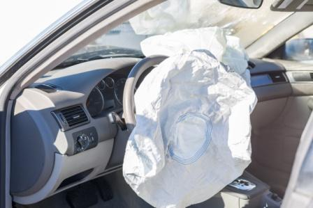 airbag deployed from car steering wheel