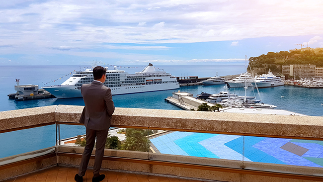 Miami Lawyer stands on deck overlooking cruise ship after accident