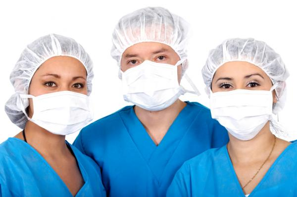 doctors and nurses in surgical scrubs