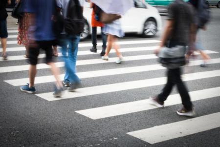 pedestrians in crosswalk