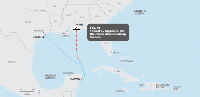 Carnival Triumph cruise ship route