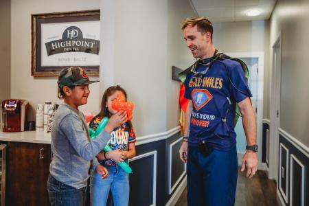 Dr. Justin Blatz of Highpoint Dental in Aurora Colorado with some of our pediatric patients