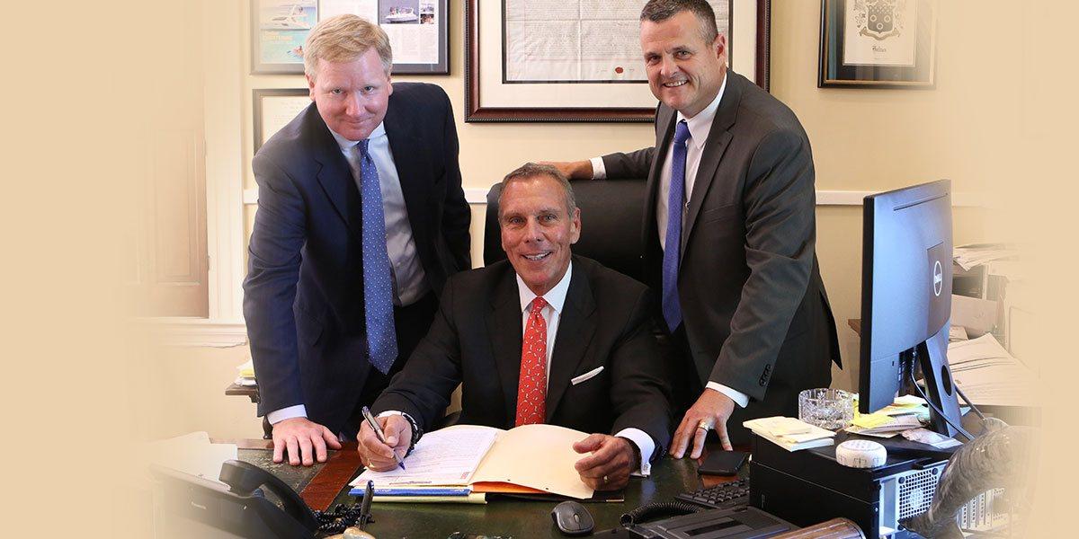 """Helton, Walter & Noelker lawyers Matt Walter, Ephraim """"Eph"""" Helton, and Bill Noelker"""