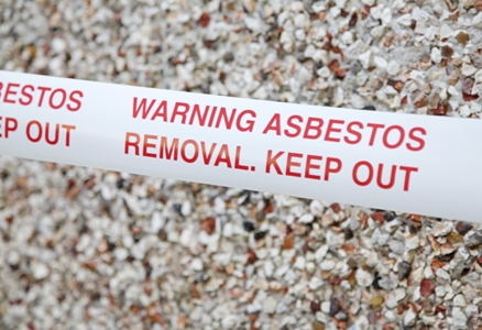 caution tape for asbestos removal site