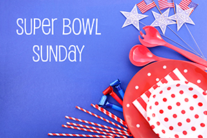 Party supplies for Super Bowl Sunday in Fort Myers and Naples, Florida.