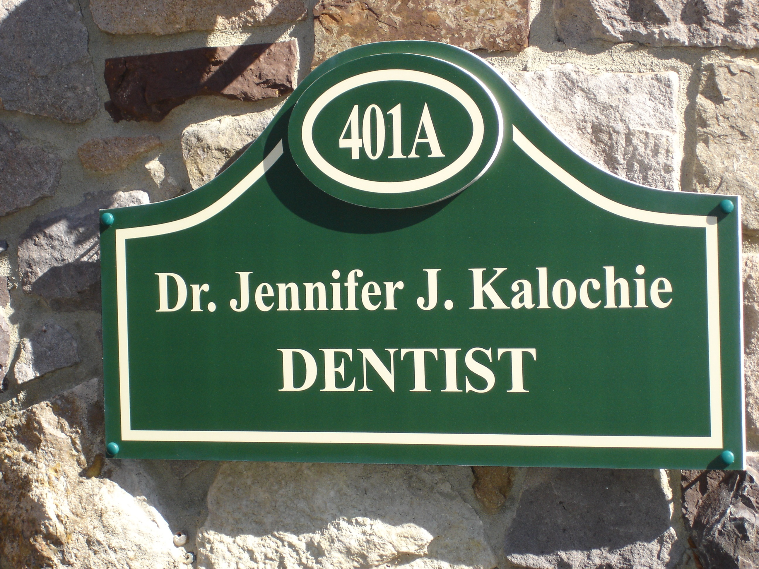 Outside image of sign for Dr. Kalochie