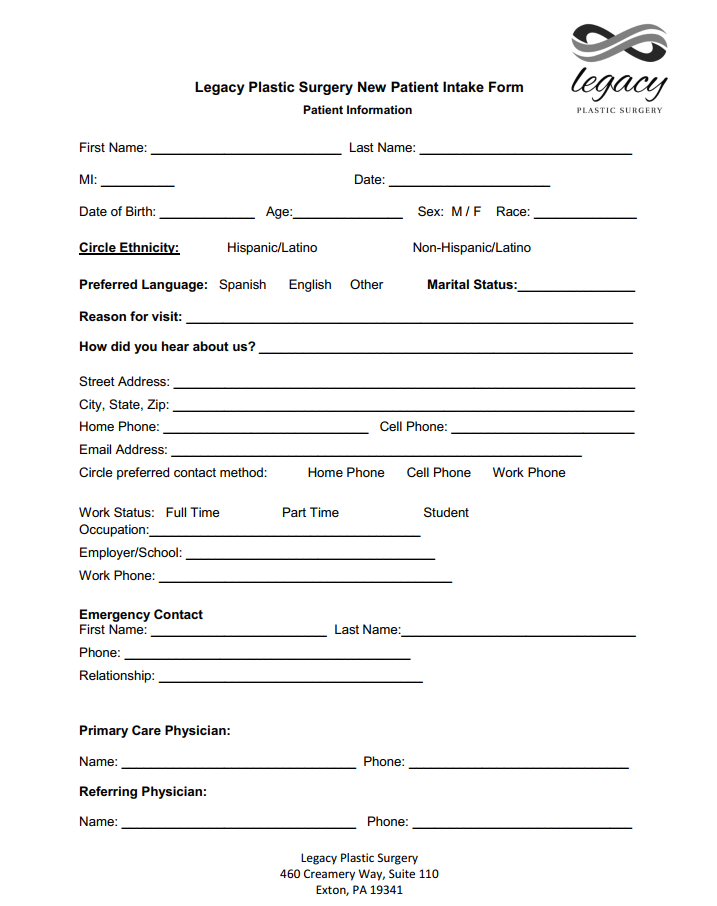 Legacy Plastic Surgery Patient Paperwork