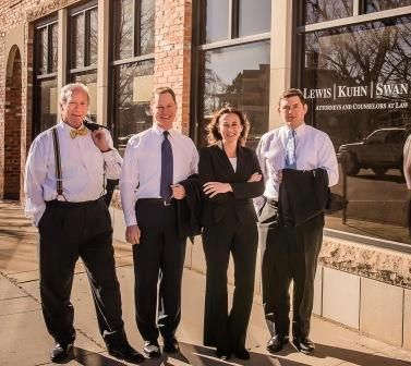 attorneys Paul Lewis, Andrew Swan, Rabea Taylor, Michael Kuhn outside of our Colorado Springs law office