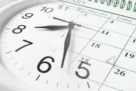 composite image of clock and calendar for upcoming deadline