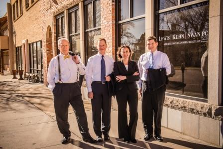 attorneys at Lewis Kuhn Swan PC standing outside our Colorado Springs office