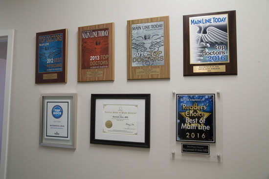 Award Wall - Main Line Plastic Surgery - Philadelphia, PA
