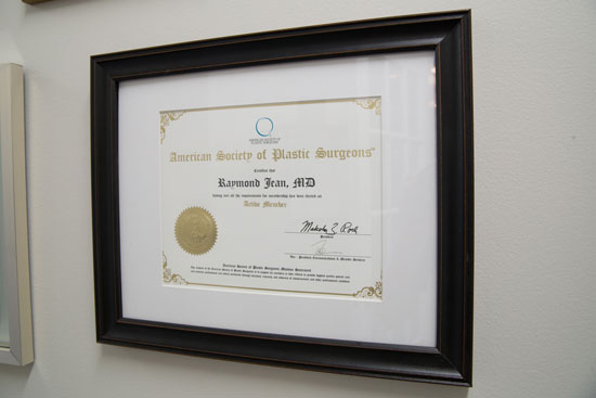 Dr. Raymond Jean Recognition - Main Line Plastic Surgery - Bryn Mawr, PA