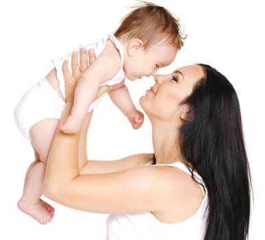 mommy holding happy baby