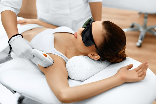 Woman Getting Laser Hair Removal at True Balance Longevity Med Spa