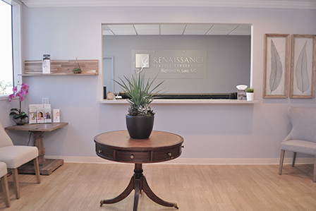 reception area and front desk at Richard H. Lee, MD Plastic Surgery in Newport Beach, California