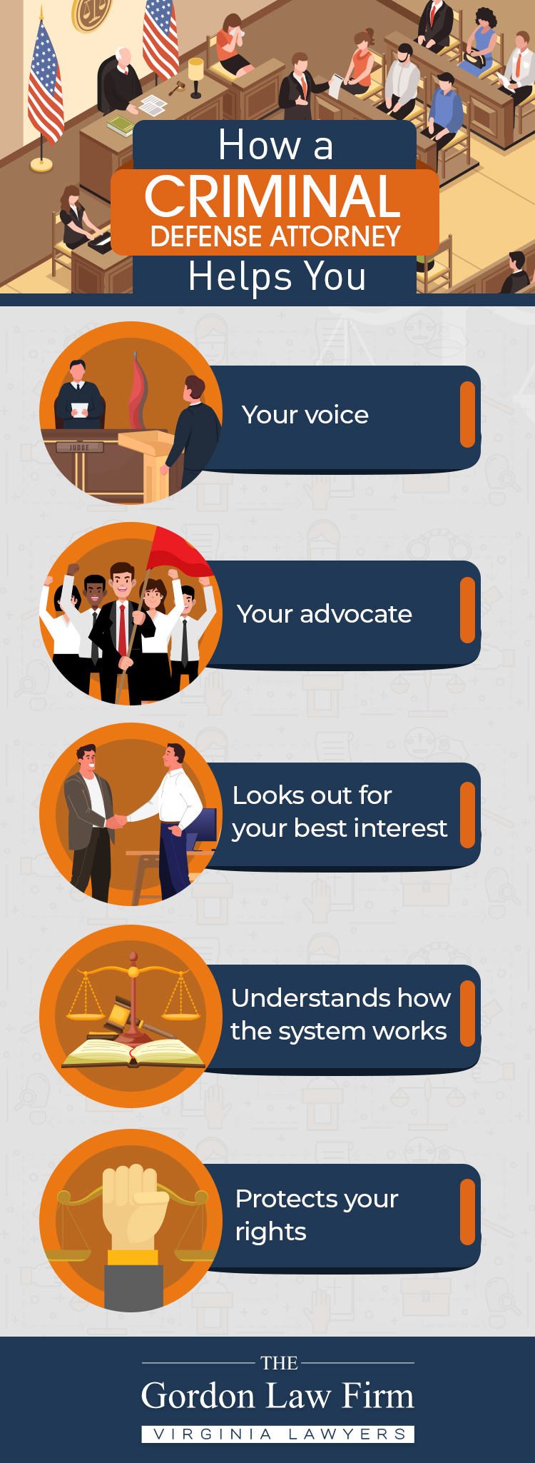 An infographic discussing how a criminal defense attorney can help your case.
