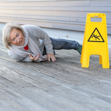 Woman slip and fall