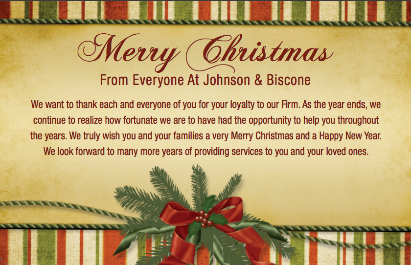 Merry Christmas from Johnson & Biscone