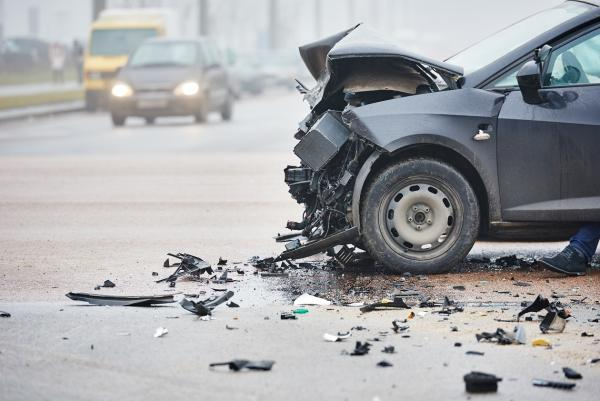 vehicle with significant damage after a car accident